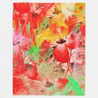 Cobertor De Velo Cobertura vermelha do velo do hibiscus, grande