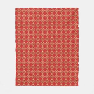 Cobertor De Velo Cobertura vermelha dourada do velo do teste padrão