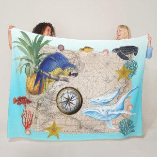 Cobertor De Velo Colagem azul tropical