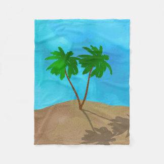 Cobertor De Velo Colagem da cena da praia da palmeira da aguarela