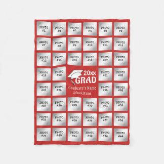 Cobertor De Velo Colagem da foto da graduação 44 (cor VERMELHA