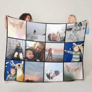 Cobertor De Velo Colagem da foto de família 12 fotos quadradas de