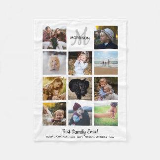 Cobertor De Velo Colagem da foto do monograma da família 11 fotos