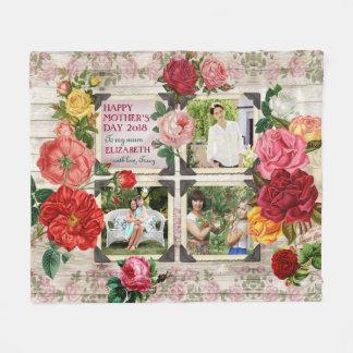 Cobertor De Velo Colagem da foto do vintage de Instagram dos rosas