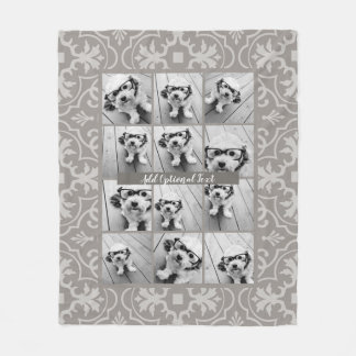 Cobertor De Velo Colagem de 12 fotos - teste padrão rústico do