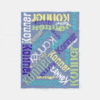 Cobertor De Velo Colagem do nome da cobertura azul personalizada