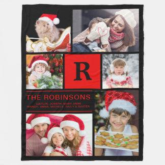 Cobertor De Velo Colagem Monogrammed da foto de família do Natal