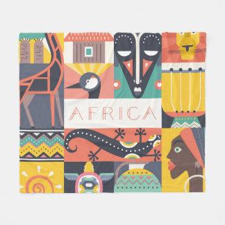 Cobertor De Velo Colagem simbólica africana da arte