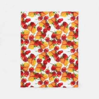 Cobertor De Velo Comida quente alaranjada das pimentas vermelhas