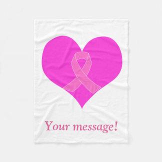 Cobertor De Velo Coração e design da caridade do cancro da mama da
