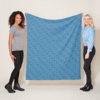 Cobertor De Velo Corações azuis vibrantes doces na cor feita sob