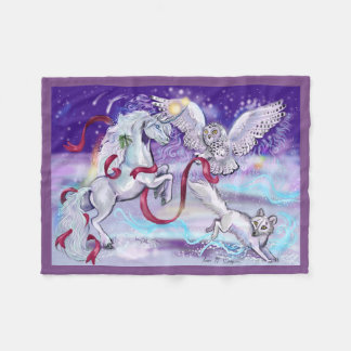 Cobertor De Velo Coruja do unicórnio do feriado e Fox