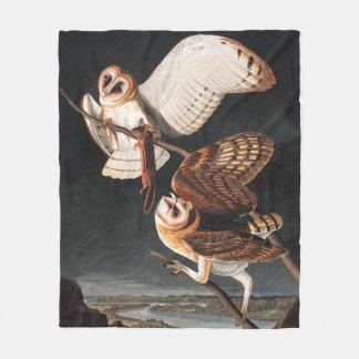 Cobertor De Velo Corujas de celeiro de John James Audubons - Tyto