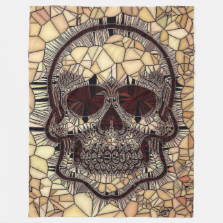 Cobertor De Velo Crânio de vidro do mosaico, bege