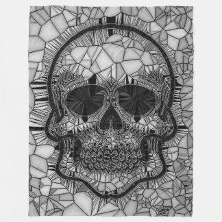 Cobertor De Velo Crânio de vidro do mosaico, branco preto