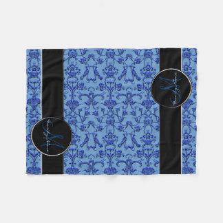 Cobertor De Velo Damasco florentino do vintage (azul)