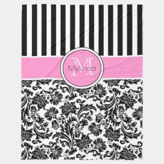 Cobertor De Velo Damascos & monograma pretos & brancos das listras