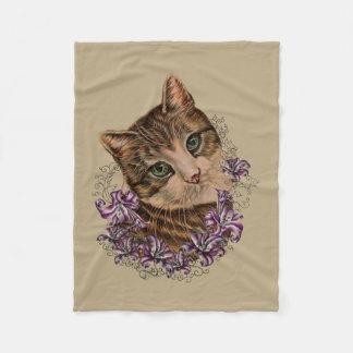 Cobertor De Velo Desenho da arte do gato e dos lírios de Brown na