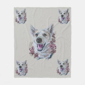 Cobertor De Velo Desenho do cão do cão que senta-se com os lírios