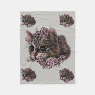 Cobertor De Velo Desenho do gatinho como o gato com os lírios na