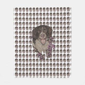Cobertor De Velo Desenho do Spaniel com os lírios na cobertura