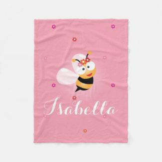 Cobertor De Velo Desenhos animados cor-de-rosa femininos bonitos da