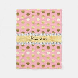 Cobertor De Velo Diamantes cor-de-rosa das bolinhas da folha de