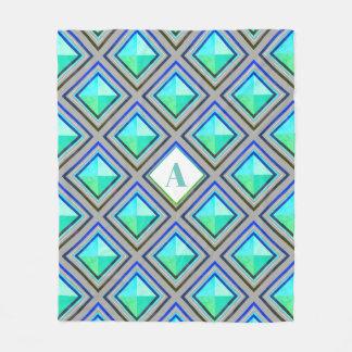 Cobertor De Velo Diamantes geométricos modernos no azul & no verde
