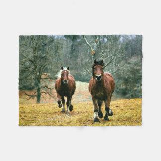 Cobertor De Velo Dois cavalos que galopam no prado
