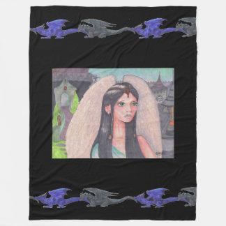 Cobertor De Velo Dragão verde azul do unicórnio preto do anjo