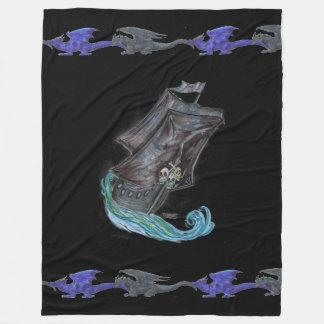 Cobertor De Velo Dragões do preto azul de navio de pirata do