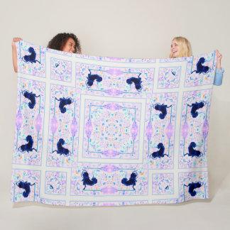 Cobertor De Velo Edredão mágica da mandala do unicórnio preto