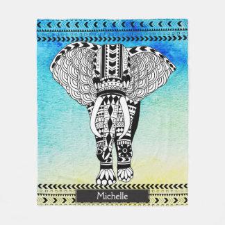 Cobertor De Velo Elefante modelado tribal da aguarela amarela azul