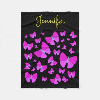 Cobertor De Velo Enxame de borboletas artísticas + Nome