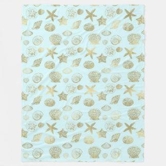 Cobertor De Velo Escudos azuis do mar do ouro da hortelã