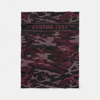 Cobertor De Velo Escuro - Camo vermelho com texto feito sob