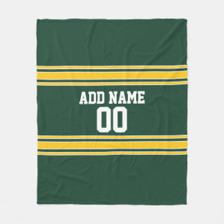 Cobertor De Velo Esportes personalizados listrados do ouro verde e