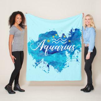 Cobertor De Velo Estrelas azuis do ouro da aguarela do Aquário do