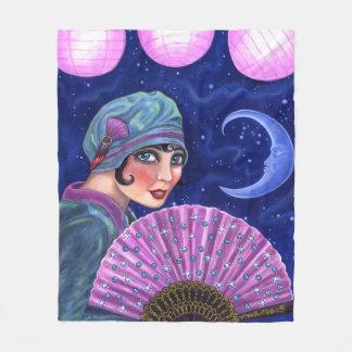 Cobertor De Velo Estrelas da lua do fã da menina do Flapper dos