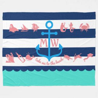 Cobertor De Velo Faça suas próprias listras náuticas da âncora do