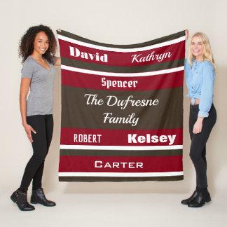 Cobertor De Velo Família de seis personalizada listrada
