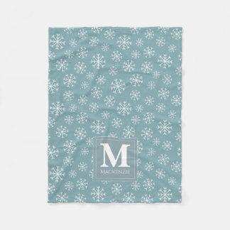 Cobertor De Velo Feriado Monogrammed dos flocos de neve do inverno