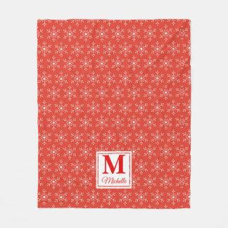 Cobertor De Velo Feriado vermelho Monogrammed dos flocos de neve do