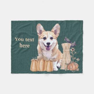 Cobertor De Velo Filhote de cachorro do Corgi de Galês no outono