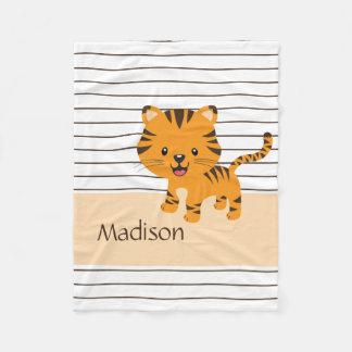 Cobertor De Velo Filhote de tigre bonito em listras marrons;