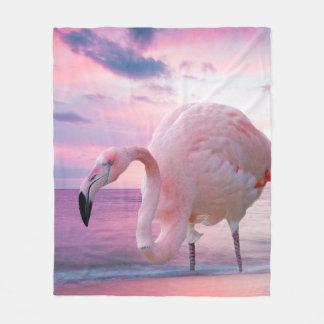 Cobertor De Velo Flamingo e céu cor-de-rosa