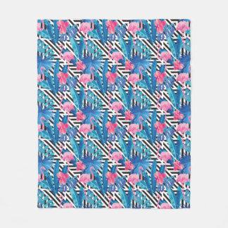 Cobertor De Velo Flamingo & palmas no teste padrão geométrico