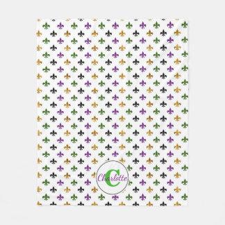 Cobertor De Velo Flor de lis na moda do carnaval do monograma