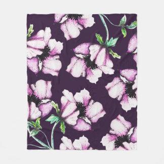 Cobertor De Velo Flores botânicas roxas modernas da aguarela & da