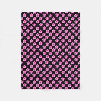 Cobertor De Velo Flores cor-de-rosa do hibiscus no preto, _